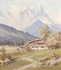 paysage de montagne avec chalet by ernst carl walter retzlaff