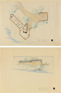 house for wind point, racine, wisconsin - plan (+ perspective extérieure; 2 works) by lynn david anderson