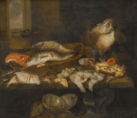 a still life with salmon plaice a crab and other fish arranged on a table a view of the sea beyond by abraham van beyeren