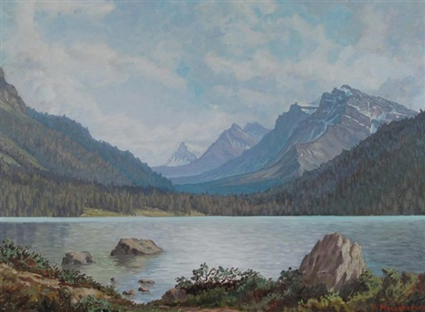 rocky mountain lake scene by mario moczorodynski