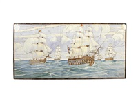 depicting sailing ships at full mast by william rowe