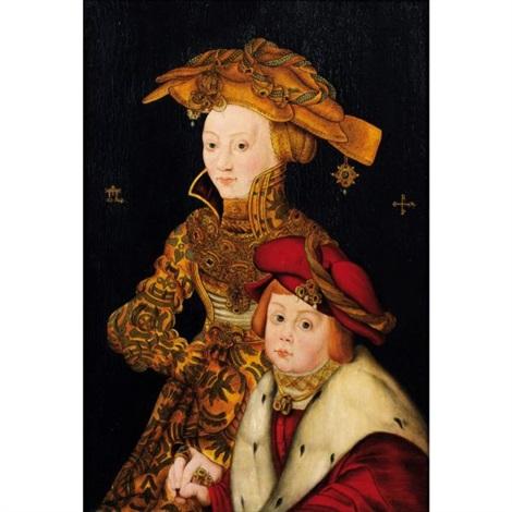portrait de la princesse sophie et du prince johann de saxe  by franz wolfgang rohrich
