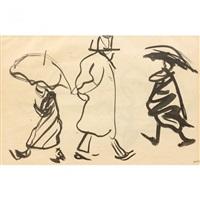projet d'illustration pour bubu de montparnasse, étude de personnages sous la pluie by albert marquet