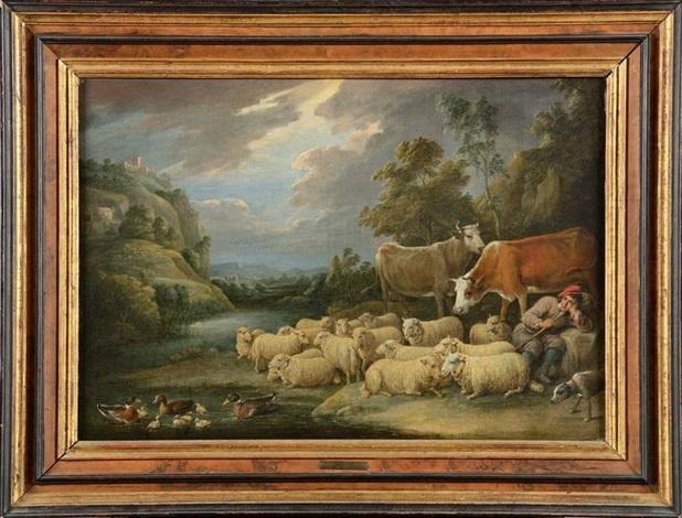 le repos du jeune paysan et de ses bêtes au bord du fleuve by david teniers the younger