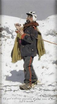 französischer kriegsgefangener aus dem krieg in winterlandschaft by carl röchling