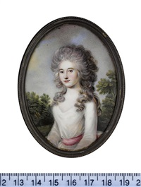 miss blackburn, wearing white dress with cerise sash, her powdered hair worn long and curling over her shoulders, landscape background by r. higgs