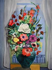 grand bouquet devant la fenêtre by moïse kisling