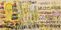 untitled (cityscape with figures) by purvis young