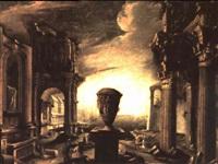 capriccio architettonico con figure by alessandro salucci
