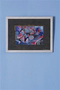 projet de sac à main avec figures dansantes et fleurs by jean dorville