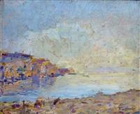 rivage méditerranéen au soleil couchant by julien gustave gagliardini