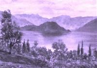 crepuscolo sul lago di como by giuseppe pessina