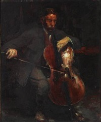 doctor and cello player carl bretton-meyer (+ portrait of his wife astrid, née prior, verso) by herman albert gude vedel