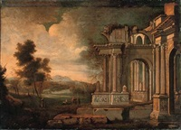 a capriccio of classical ruins with peasants conversing by a stream by hendrick danckerts
