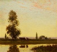 cows at sunset by william lister-lister