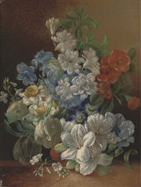 narcissae, pansies, lillies and other summer blooms in a vase on a ledge by jan van der waarden