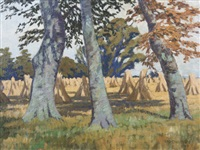three beeches and haystacks by arthur radclyffe dugmore