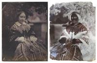 négatif et positif: femme assise au jardin (2 works) by jean baptiste frénet