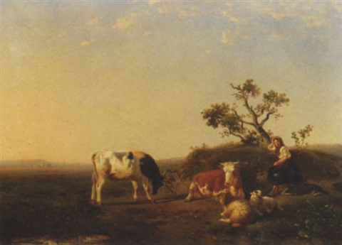 a peasant girl and cattle resting in a landscape by johan daniel koelmann