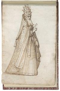 un carnet comprenant vingt esquisses de costumes romains et d'études morphologiques (sketchbook w/20 works) by italian school (16)