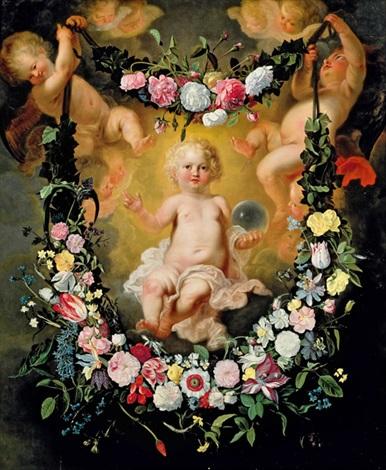 blumengirlande mit christuskind collab weither daniel seghers or jan brueghel the younger by cornelis schut the elder