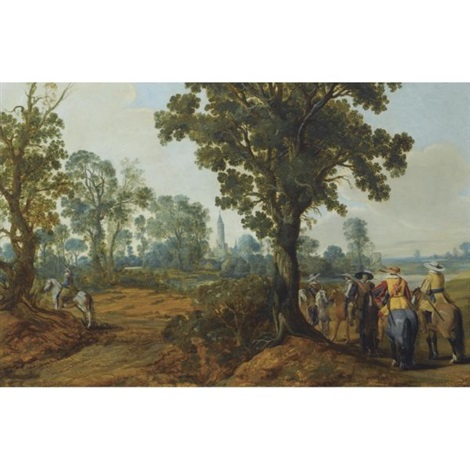 a wooded landscape with mounted soldiers a church tower beyond by gerrit claesz bleker