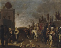 an allegorical scene with moses and aaron and a pope by dirck bleker