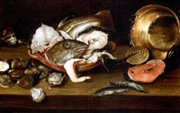 fish, oysters, a copper pot and strainer on a table with a cat by isaac van duynen