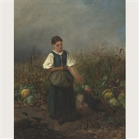 country girl feeding turkeys in a cornfield by carl von kratzer