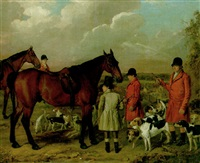 hunt servants and hounds, with stables beyond by william smith