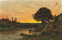 landscape with two women washing clothes by charles françois daubigny