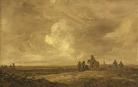 dune landscape with travelers by jan josefsz van goyen