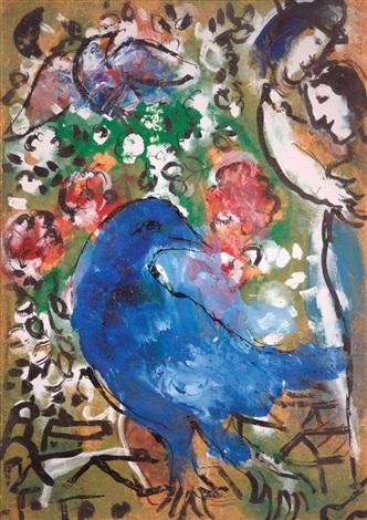 Loiseau bleu by marc chagall on artnet for Chagall tableau
