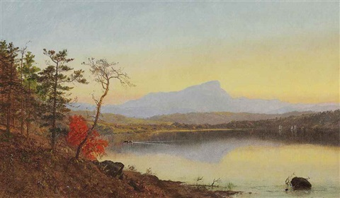 sunset camels hump lake champlain by jasper francis cropsey