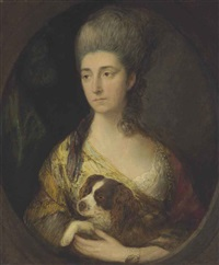 portrait of lady frederick campbell (countess ferrers) with a spaniel by thomas gainsborough