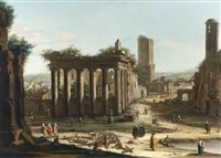 capriccio di rovine romane by jacopo fabris