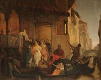 trois scènes d`amour à la sortie de la ca d`oro à venise (d`après le marchand de venise de shakespeare?) by joseph severn