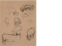etude de vaches et étude de cochons (recto-verso) by paul gauguin