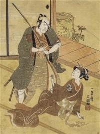 ichikawa danjuro iv dans le rôle du samurai hiraoka heiemon et segawa kikuojo ii dans le rôle d'okaru by ippitsusai buncho