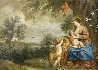 la vierge à l'enfant avec saint jean-baptiste, et un ange dans un paysage by peeter van avont
