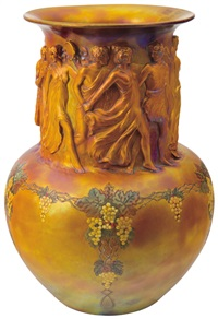 ornamented vase with a bacchanal scene by zsolnay