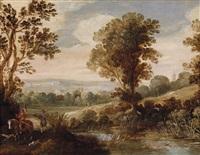 landschaft mit einem falkenjäger, einem jagdknecht und zwei hunden by willem van den bundel