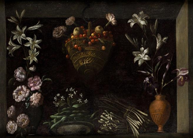 bodegón con flores hortalizas y un cesto de cerezas by juan fray sanchez y cotan
