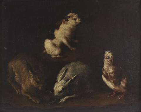 rabbits dove and a guinea pig in an interior by giovanni agostino abate cassana