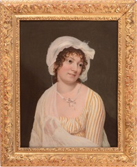 portrait of a lady in a striped dress by french school