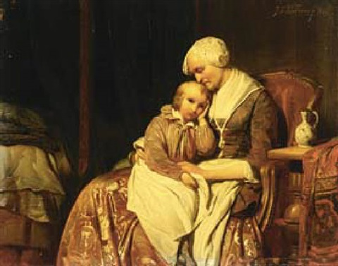 on grandmothers lap by johan philip koelman