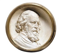 a relief portrait of alfred, lord tennyson by thomas woolner