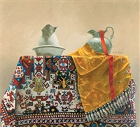 dialogue between two pitchers on a persian carpet by richard hall