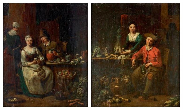 deux scènes de cuisine formant pendant pair by jan baptist lambrechts