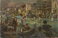 venezia. canale con gondole by alessandro milesi